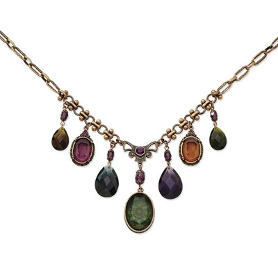 Burnish Copper-tone Multi Color Crystals 16 In Necklace