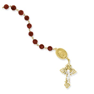 Gold and Silver-tone Decade Hand Rosary Necklace