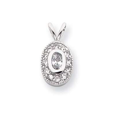 Jewelryweb Rhodium-plated April Birthstone Oval CZ Necklace - 18 Inch
