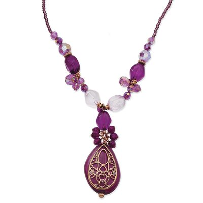 Rose-tone Dark Purple Crystal Baroque 16 Inch Necklace