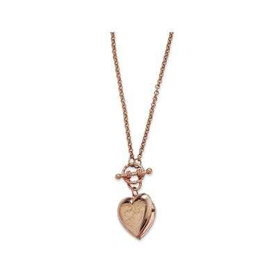 Jewelryweb Rose-tone Heart Locket Decorative Toggle 18 InchNecklace