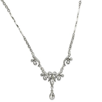 Jewelryweb Silver-tone swarovski Crystals Teardrop 15 Inch Necklace