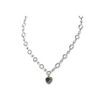 14k Yellow Black Diamond Heart Drop Necklace - 17 Inch