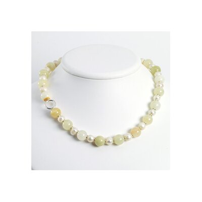 Grn Jade White Cats Eye Quartz Cultured Pearl Necklace 18 In - Toggle