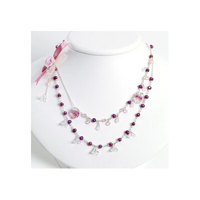 Pink Clr Glass Rd Cult. Pearl Rose Quartz Necklace 30 In - Lobster Claw
