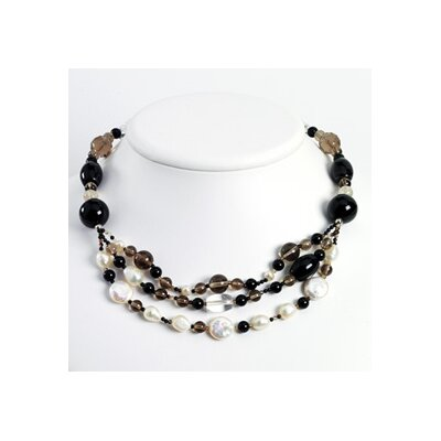 Jewelryweb Smokey Quartz Biwa Cultured Pearl Obsidian Bead Necklace - 16 Inch- Lobster Claw