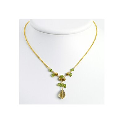Vermeil Lemon Golden Cultured Pearl Peridot Necklace 16 In - Lobster Claw