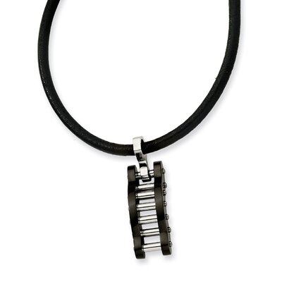 Jewelryweb Stainless Steel Black Color IP-plated Bridge Necklace 18 In