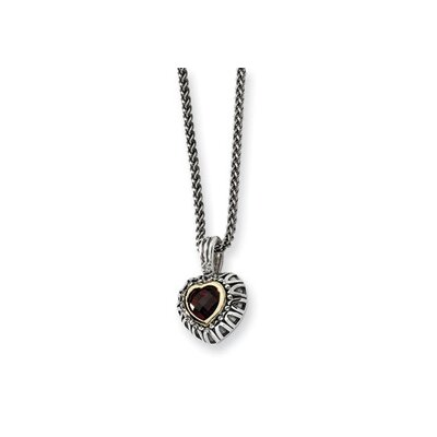 Jewelryweb Ste. Silver 14k 7mmGarnet Antiqued Heart Necklace - 18 Inch