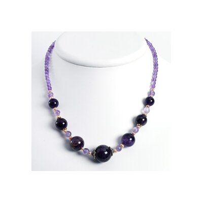 Jewelryweb Ster. Silver Amethyst Peach Cult. Pearl Necklace - 18 Inch- Lobster Claw