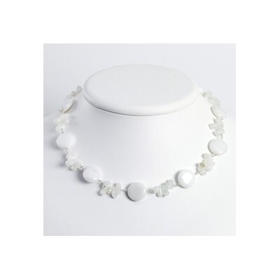 Ster. Silver White Moonstone White Jade Necklace - 16 Inch- Lobster Claw