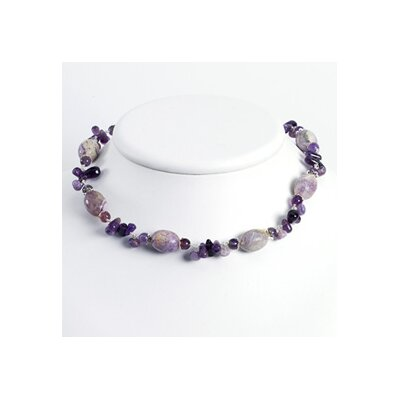 Jewelryweb Sterling Silver Amethyst Charolite Necklace - 16 Inch- Lobster Claw