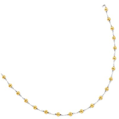 Jewelryweb Sterling Silver and 14K Beaded Necklace - 18 Inch