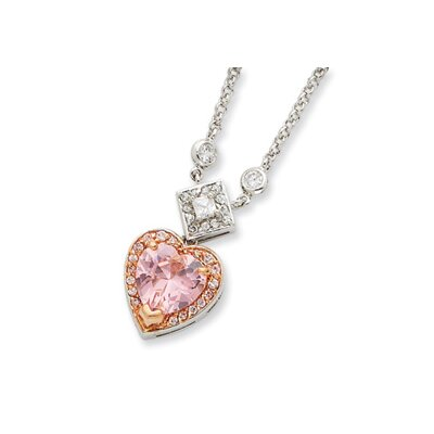 Sterling Silver and Pink Vermeil CZ Heart Necklace - 16 Inch- Spring Ring