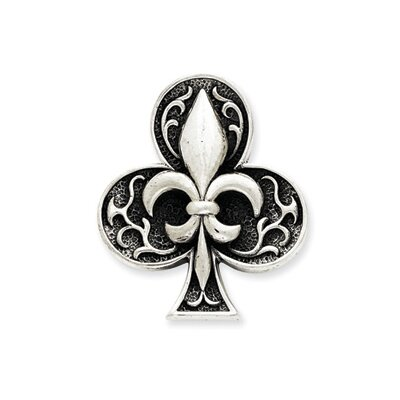 Jewelryweb Sterling Silver Antiqued Fleur de lis Pendant