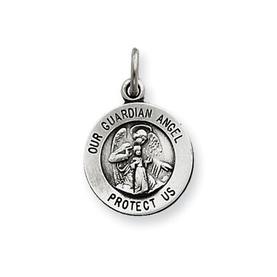 Jewelryweb Sterling Silver Antiqued Guardian Angel Medal Pendant