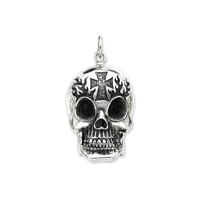 Jewelryweb Sterling Silver Antiqued Skull Pendant