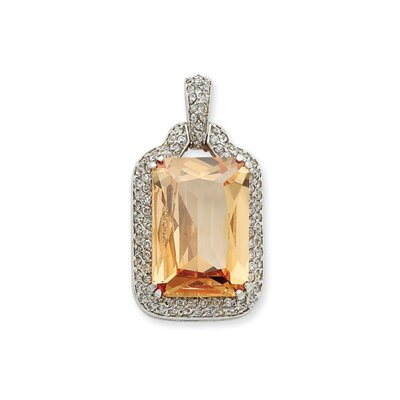 Sterling Silver Champagne and Clear CZ Pendant