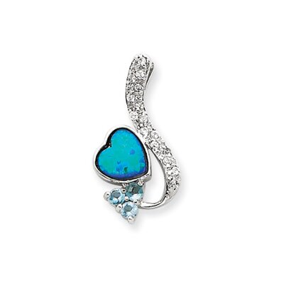 Sterling Silver Created Opal and Blue CZ Pendant