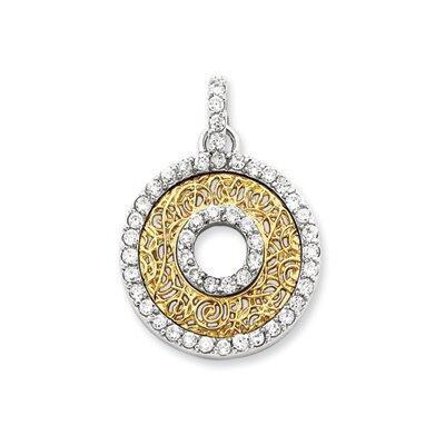 Jewelryweb Sterling Silver CZ and Vermeil Circle Pendant