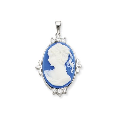 Jewelryweb Sterling Silver CZ Circle Chain Slide Pendant