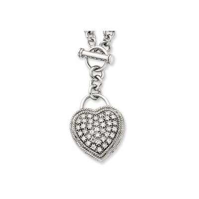 Jewelryweb Sterling Silver CZ Heart Dangle Necklace - 16 Inch- Toggle