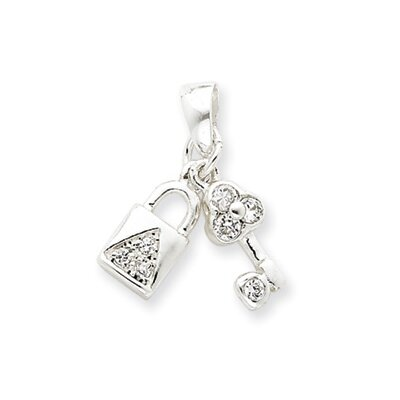 Jewelryweb Sterling Silver CZ Lock and Key Pendant
