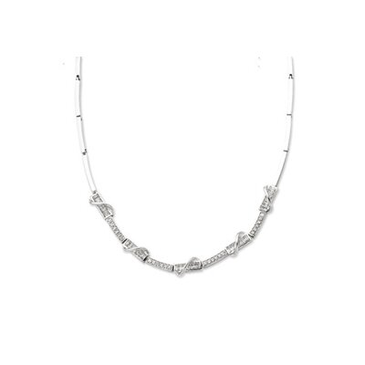 Jewelryweb Sterling Silver CZ Necklace - 16 Inch- Box Clasp