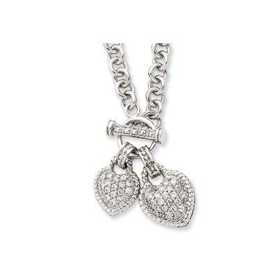 Jewelryweb Sterling Silver Double CZ Heart Dangle Necklace - 16 Inch- Toggle