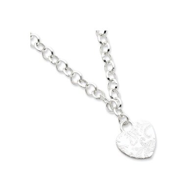 Jewelryweb Sterling Silver Embossed Heart Dangle Necklace - 17 Inch- Lobster Claw