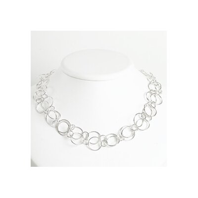 Sterling Silver Fancy Round Link Necklace - Lobster Claw
