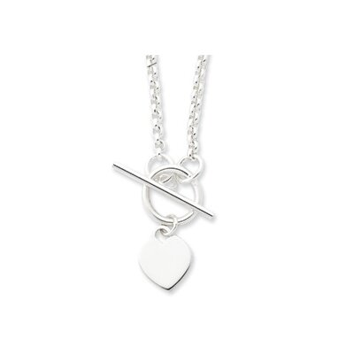 Sterling Silver Heart Tag Necklace - 18 Inch- Toggle