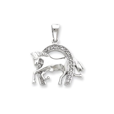 Jewelryweb Sterling Silver Horse and Horseshoe CZ Pendant