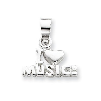 Jewelryweb Sterling Silver I Love Music Pendant