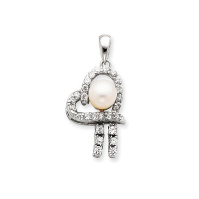 Jewelryweb Sterling Silver Imitation Pearl and CZ Pendant