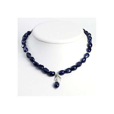 Jewelryweb Sterling Silver Leaves Blue Cult. Pearls Necklace - 16 Inch- Lobster Claw