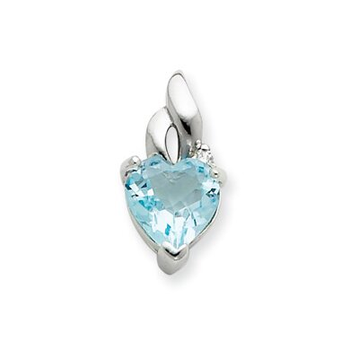 Jewelryweb Sterling Silver Light Blue Gemstone Heart Pendant