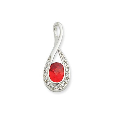 Jewelryweb Sterling Silver Orange and Clear CZ Pendant
