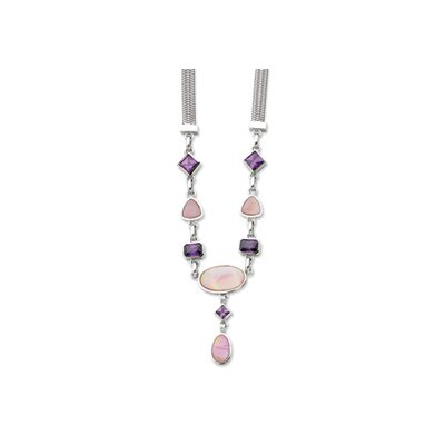 Jewelryweb Sterling Silver Purple CZ Pink MOP Necklace - 17 Inch- Lobster Claw