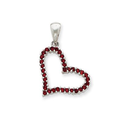 Jewelryweb Sterling Silver Red CZ Heart Pendant
