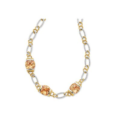 Sterling Silver Vermeil Champagne CZ Necklace - 18 Inch- Toggle