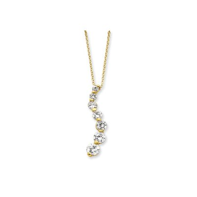 Jewelryweb Sterling Silver Vermeil CZ Journey Necklace - 18 Inch- Spring Ring
