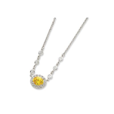 Sterling Silver Yellow and Clear CZ Necklace - 16 Inch- Spring Ring