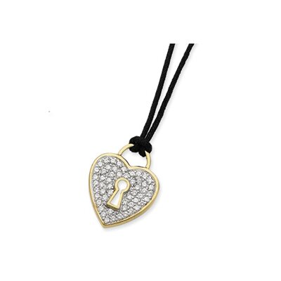 Jewelryweb Sterling Vermeil CZ Heart Black Wool Cord Necklace - 16 Inch- Lobster Claw