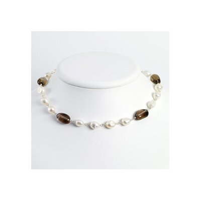 Sterling White Cult. Pearl Smokey Quartz Necklace - 16 Inch- Lobster Claw