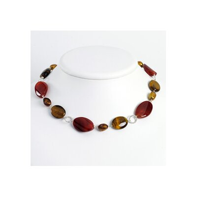 Sterling Silver Carnelian Freshwater Cultured Pearl Tiger Eye Necklace - 19 Inch