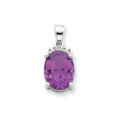 Jewelryweb Sterling Silver Rhodium Amethyst and Diamond Pendant