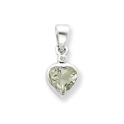 Jewelryweb Sterling Silver Rhodium Green Amethyst Diamond Pendant