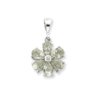 Sterling Silver Rhodium Green Amethyst and Diamond Flower Pendant