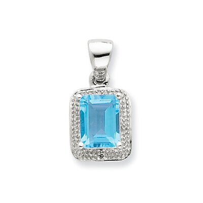 Jewelryweb Sterling Silver Emerald-cut Lt Sw Blue Topaz and Diamond Pendant